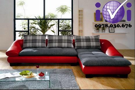 Sofa vải nỉ màu đỏ